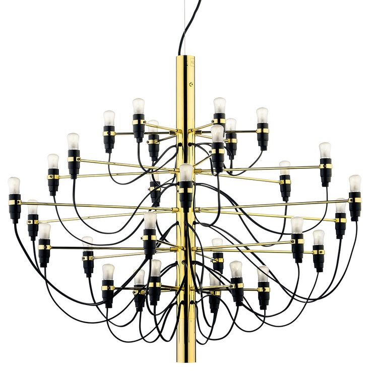 The 2097 Chandelier from Flos is a truly stunning pendant fitting with a gilded brass steel central structure and brass arms designed by Gino Sarfatti