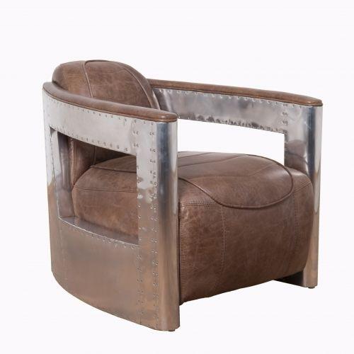 "Råtøff og eksklusiv Old Amsterdam lenestol i smokey brown ""vintage leather"" med rammeverk i metall."