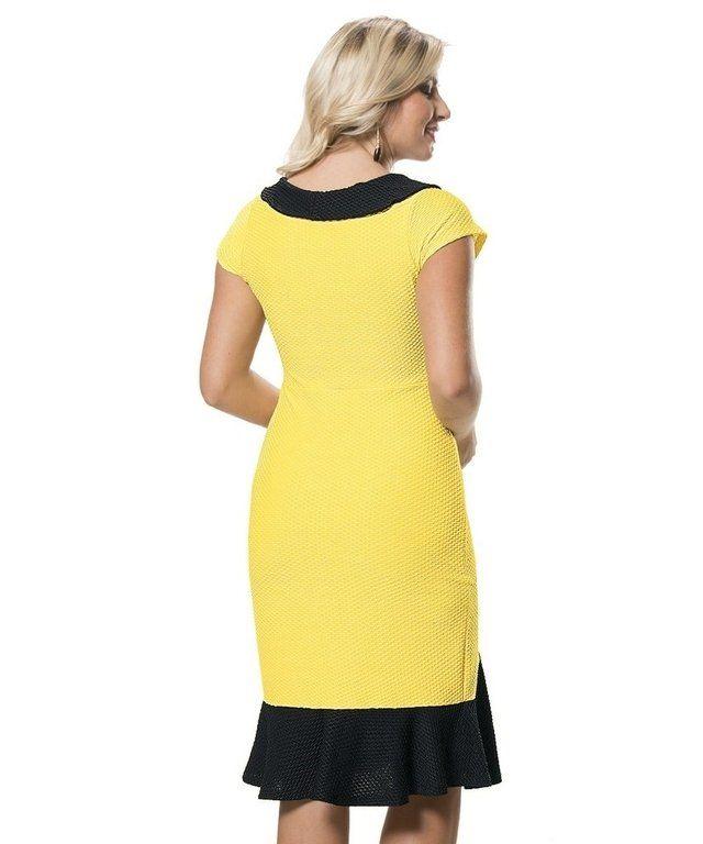 6084 - Vestido em Malha Piquet Amarejo e Preto - comprar online