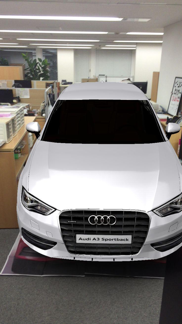 駐車スペースぎちぎちだよ。オフィスも手狭になったね! Audi の実物大キャンペーン。  aug!で!