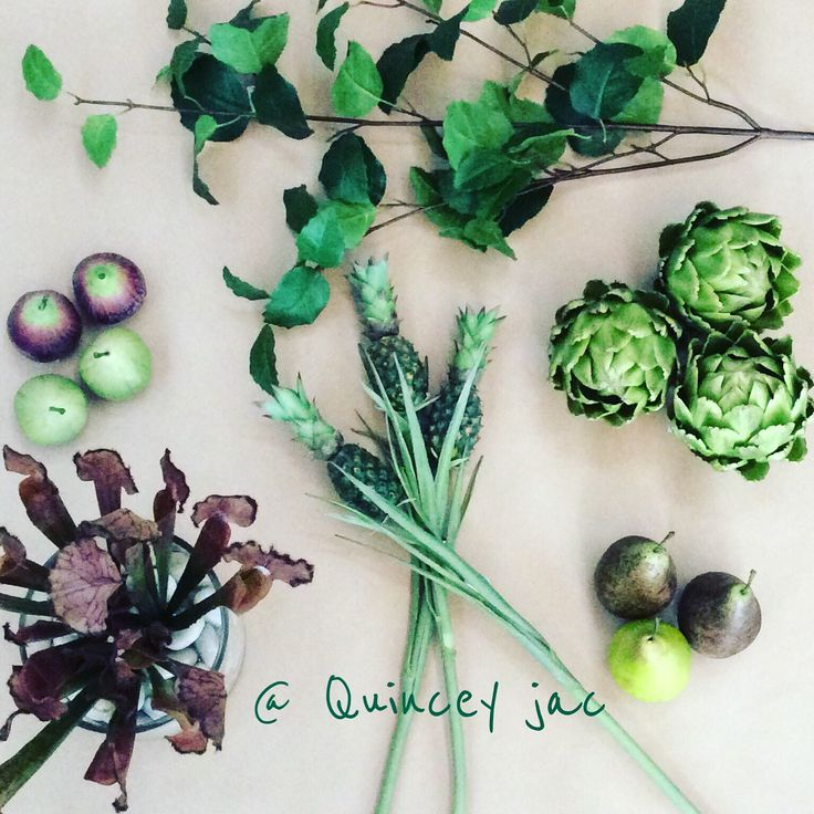 #plants #fruit #leaves #green #folage #figs #artichoke #pineapple #layout #quinceyjac