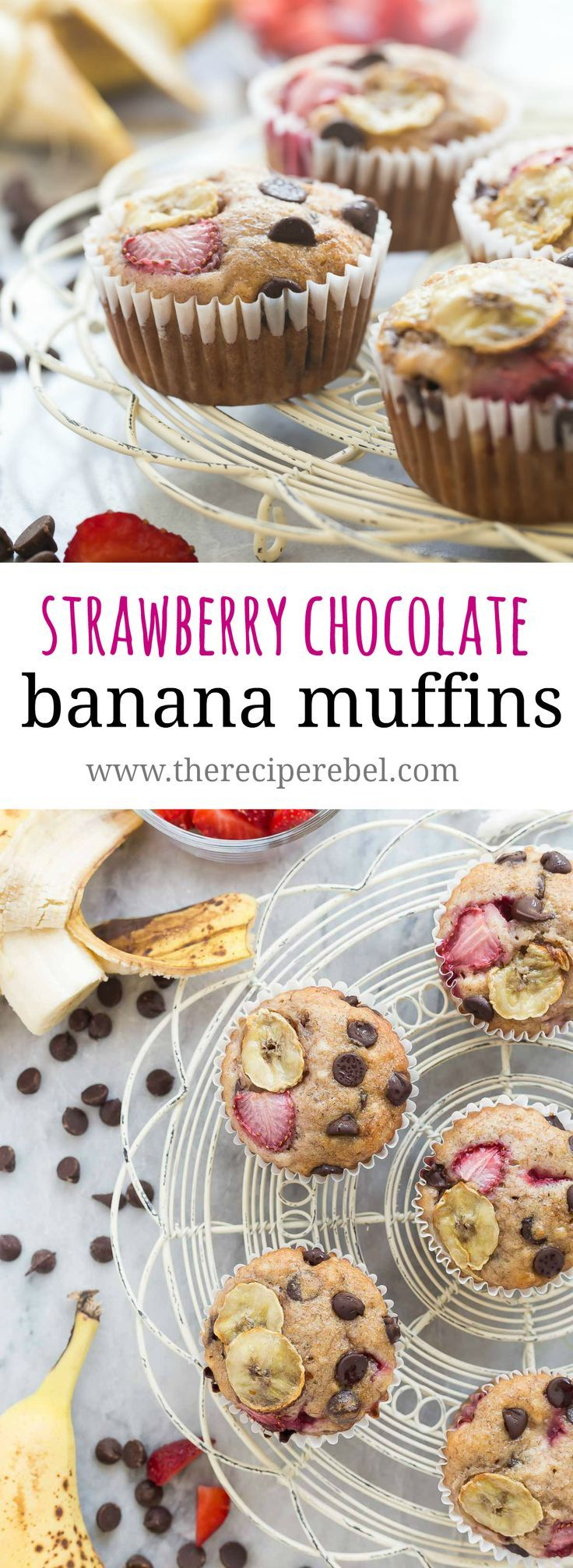 These Chocolate Chip Banana Muffins are the best — so moist but made healthier with whole wheat flour, yogurt and loaded with fresh strawberries!