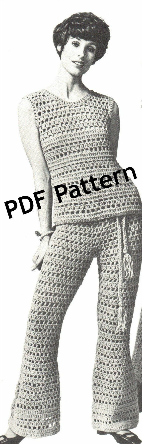 Vintage Hippie Bellbottom Pants Top Crochet by BubbleGumInTheMail, $4.25