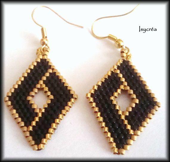 Boucles d'oreilles tissées or et marron : brown and gold beaded earrings