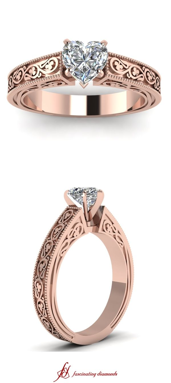 Leaf Contour Ring ||  Heart Shaped Diamond Solitaire Ring In 14K Rose Gold