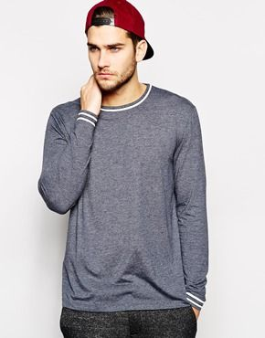 Long sleeved T-shirt by ASOS Soft-touch, jersey fabric Crew neck Contrast  piping Fitted cuffs Relaxed fit Machine wash Cotton Our model wears a size  Medium ...