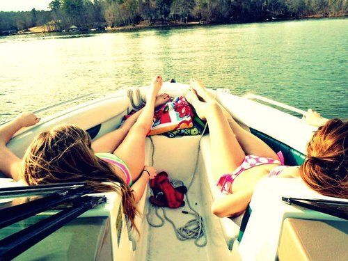 Give me a boat, a lake, and a drink in my hand and you'll make me the happiest girl in the world! @Danielle Quigley me and youuuu<3