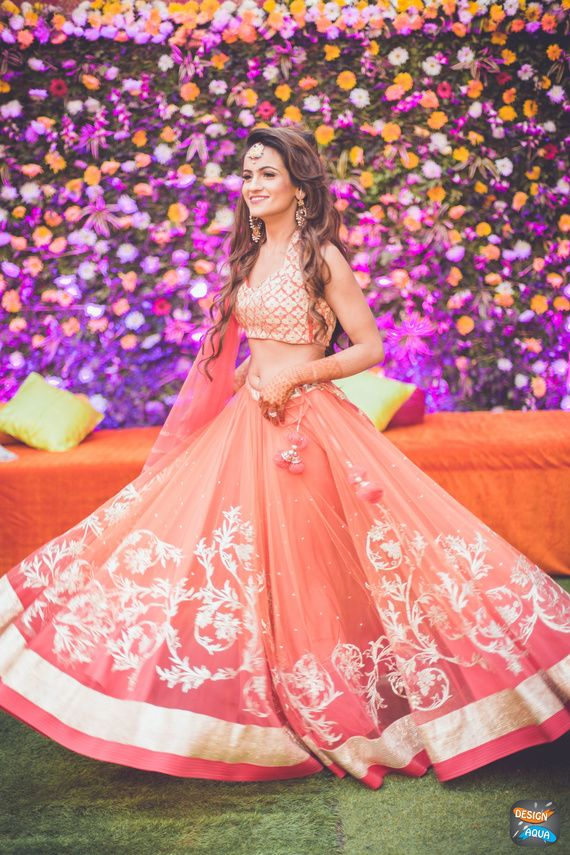 Pastel Pink and Carrot Pink Shaded Lehenga