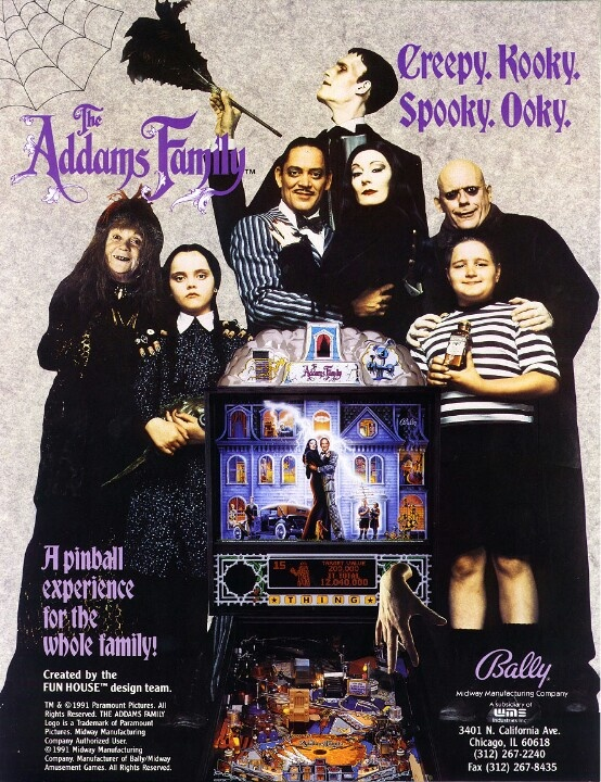 The Addams family pinball machine game flyer advertisement