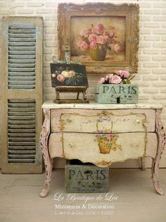 Marie-Antoinette distressed Shabby pale pink, Chest of drawers - 1'' SCALE - French dollhouse furniture in 1:12th scale on Etsy, $180.72