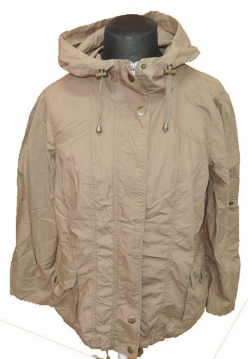 Dámská hnědá plátěná podzimní/jarní bunda s kapucí zn.