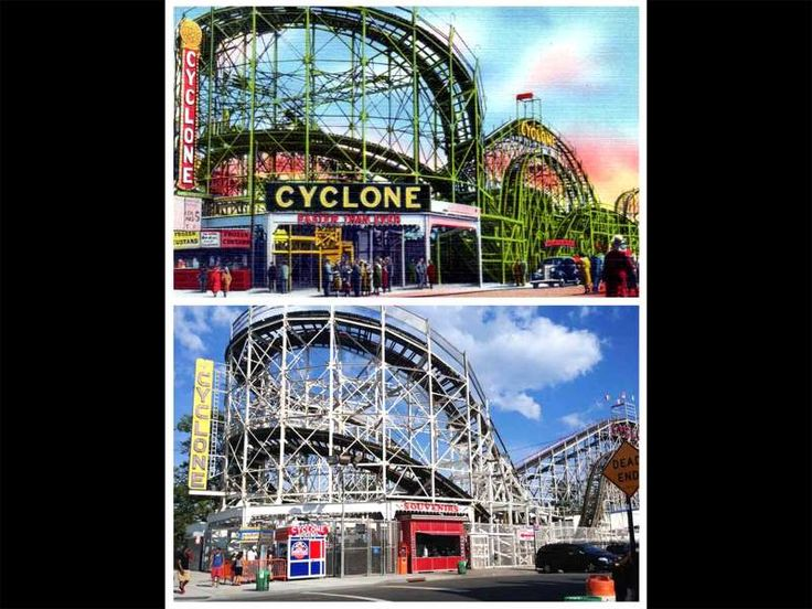 Postcard Locations, Then and Now <<<=>>> 5. CONEY ISLAND CYCLONE (1940s Postcard) Location: 1000 Surf Avenue, Brooklyn, NY The Cyclone is a lot less flashy now. Despite being one of the most famous attractions in Brooklyn, the roller coaster is a no frills ride. Provided by Mental Floss