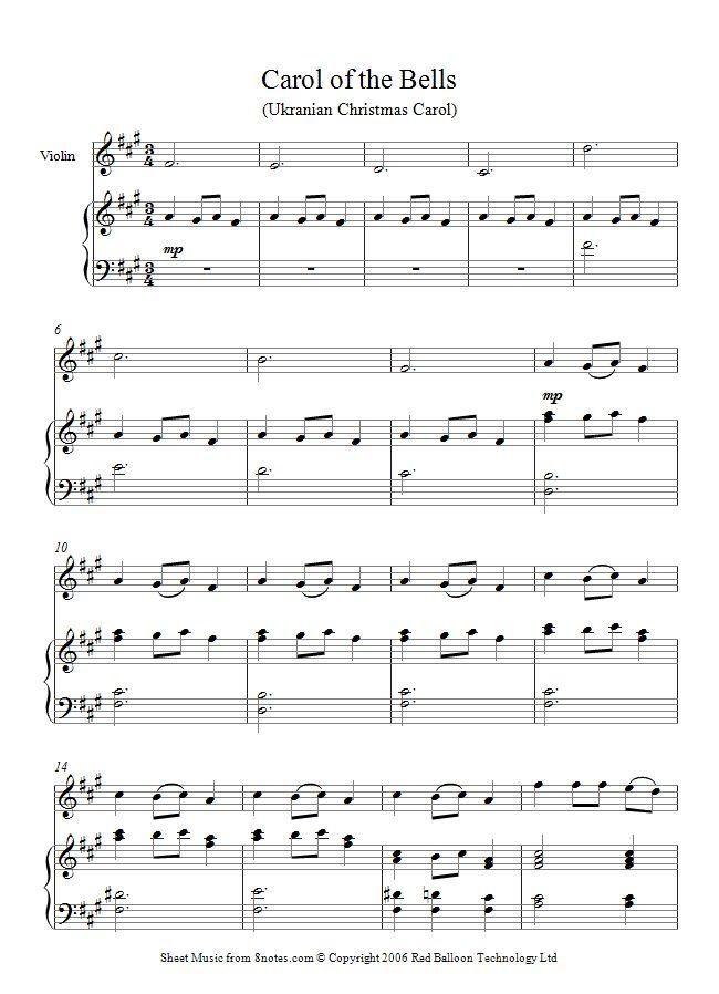 Carol of the Bells sheet music for Violin