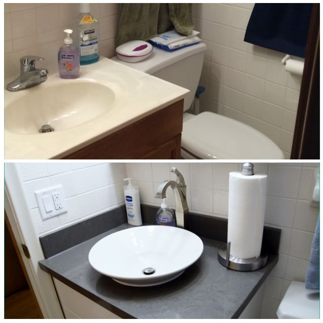 Image Of This homeowner chose to enhance their bathroom with a new vessel bowl sink vanity that included