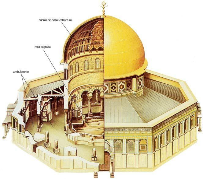 Cúpula de la Roca. Jerusalén, siglo VII. Fue mandada construir por el califa omeya Abd al-Malik.