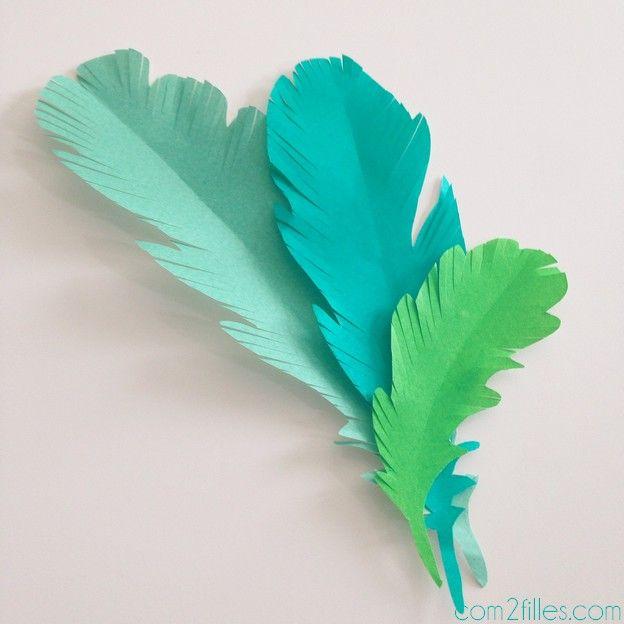 DIY : plumes en papier - atelier mené à la #KidsGardenParty de #PinterestNantes chez #DecoAvenue