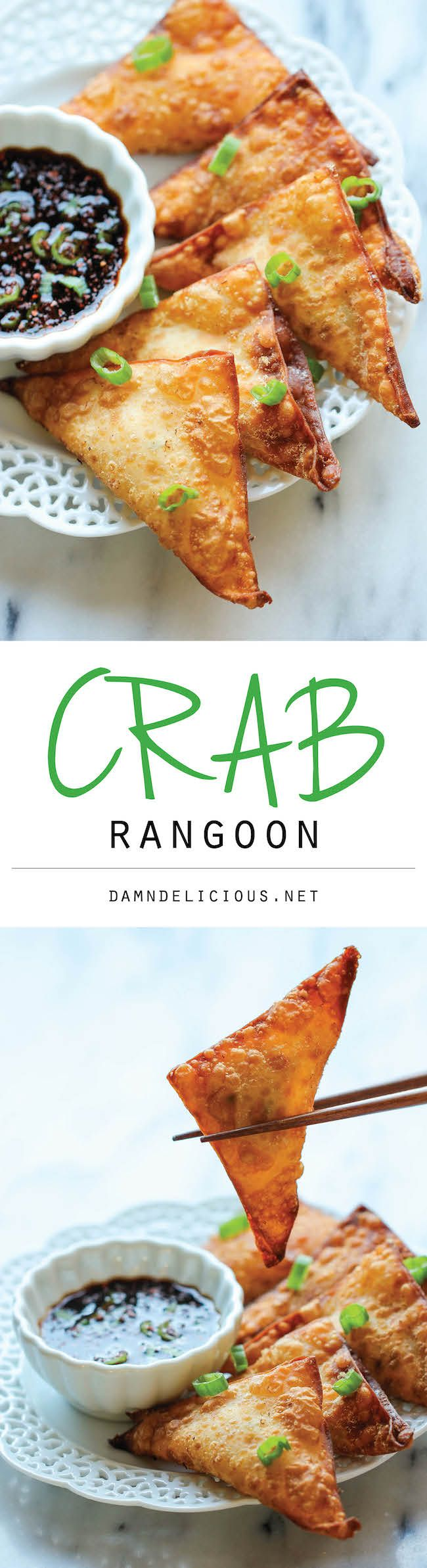 Crab Rangoon - This crisp, fried wonton is loaded with cream cheese and crab goodness, and it's an absolute party favorite!