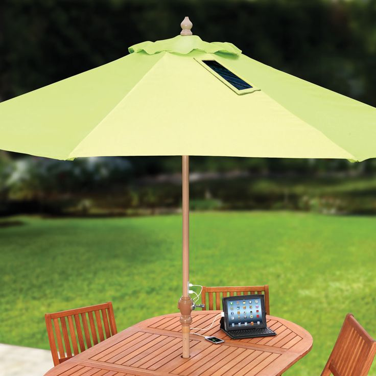 The Only Device Charging Market Umbrella - Hammacher Schlemmer. Solar powered umbrella has ports to charge your gadgets.