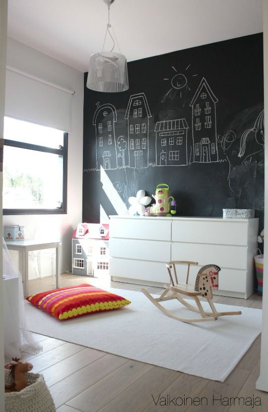 I'm not a huge fan of the blackboard paint trend (chalkdust everywhere! what a bitch to clean up!!) but I do like the way the town house line art looks in this photo. Makes me want to paint a wall dark grey and then draw line art illustrations on it in white. Just an idea...