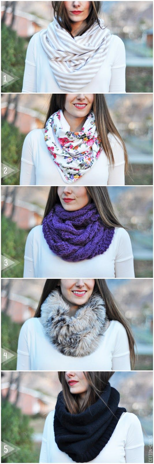 C: DIY infinity or circle scarf tutorial (aka the snood). 5 different tutorials!! Must try this this thanksgiving break using my long (but not quite flattering) sweater dress!