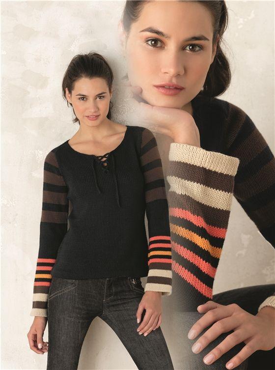 Estupendo, ligero jersey de rayas, tejido en lana para mujer. hecho a mano (handmade) excelente calidad y variedad de materiales. Tejido tricot de ...
