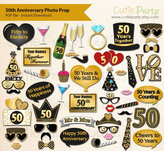 50th Anniversary Party Photo Booth Prop Fiftieth Wedding Anniversary Party Printable Fif 50th Anniversary Party Anniversary Parties Wedding Anniversary Party