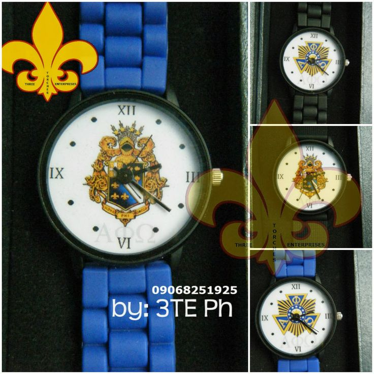 Alpha Phi Omega crest and seal on your wristwatch.