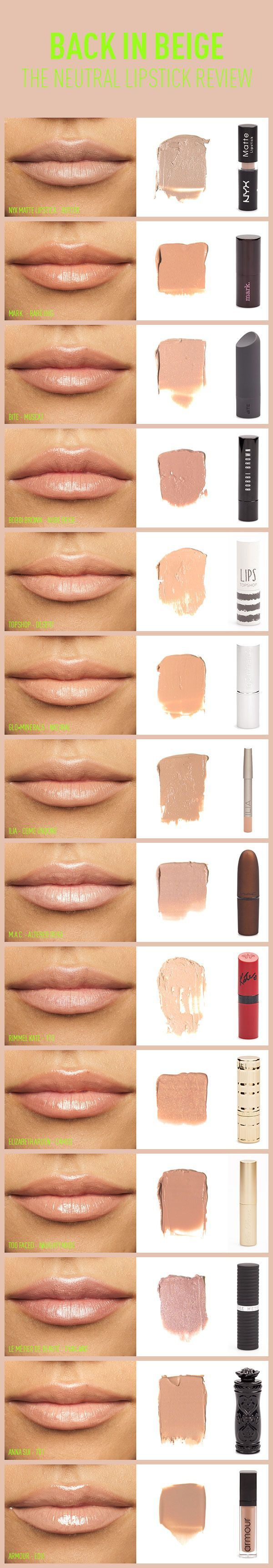 Back In Beige: The Neutral Lipstick Review | Beautylish- i want the NYX butter shade!!!