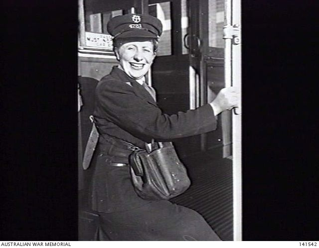 Mrs Ruby Bale, of the Malvern Tram Depot, who is the leader in the Popular Conductress competition in aid of the Prisoners-of-War Fund (4 August 1944).