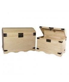 Set houten schatkisten 2 afm., 37x21x26 cm + 44,8x28,8x32 cm