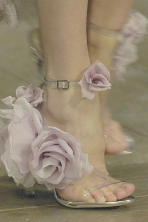 Purple flower heels shoes