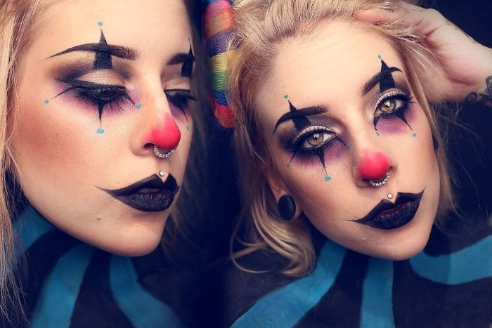 Purple Eye Shadow With Black And Blue Details Black Lipstick And A Red Nose Clown Face Paint Worn By A B Cute Clown Makeup Creepy Clown Makeup Clown Makeup