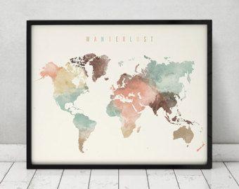 Welt Karte Aquarell Druck Reisekarte große von ArtPrintsVicky