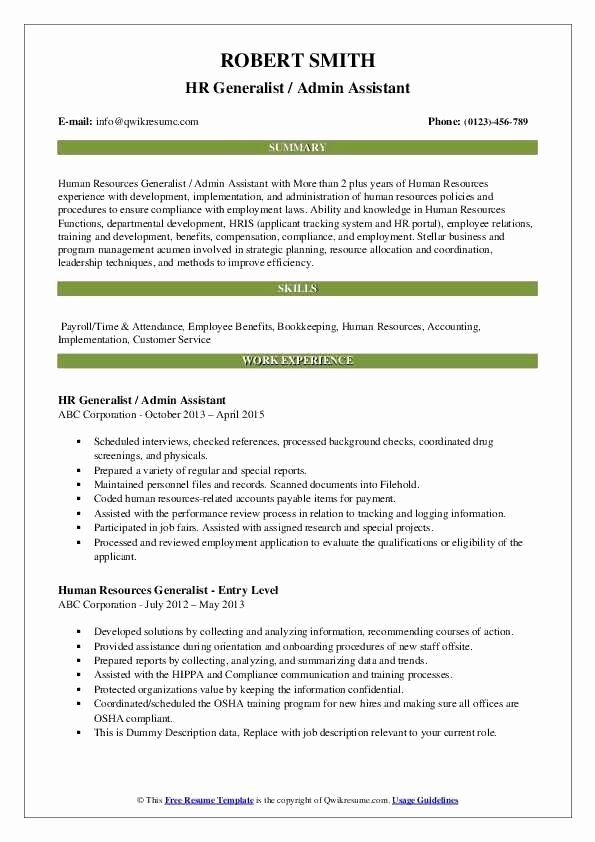 Human Resource Generalist Resume Samples Fresh Aˆs 20 Human Resources Generalist Resume In 2 Medical Assistant Resume Job Resume Samples Human Resources Resume