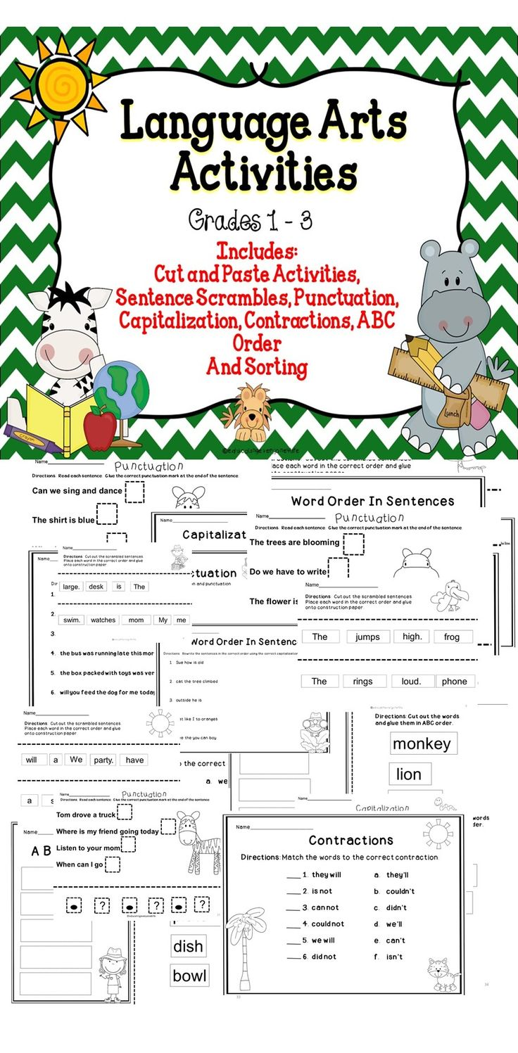 Language Arts For The Elementary Classroom - This is a fun hands on activity book! It includes: Sentence Scrambles, Word Order, Capitalization, Punctuation, and more! #tpt #literacy #writing