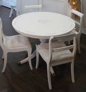 Marjolein's table and chairs - Antique White Cottage Paint