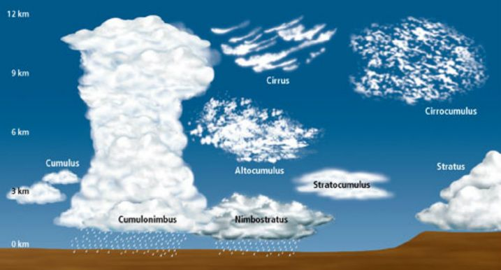 Clouds are classified by two different details above the earth surface, their height and the texture. Below are the latin words to describe the clouds. One example is cumulonimbus which is a puffy, rain cloud. Clouds form when cold front collides with a warm front making it rise really quickly. Then the rising warm air will start to coll and make rain which goes far as 50 to 70 km. There are many different types of clouds that are found in different heights.