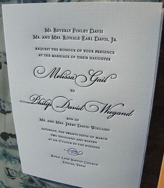 Letterpress Wedding Invitation  Traditional  by SmallPrinter, $6.50