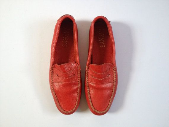 Red Leather Loafers. Women Red Loafers. Vintage by Tukvintage