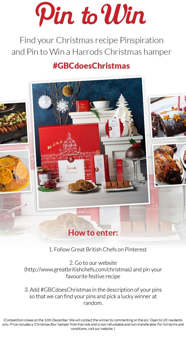 Pin to win competition! #WIN a Christmas Harrods hamper simply by pinning a favourite festive recipe from our site! #PintoWin #Competition #GBCdoesChristmas