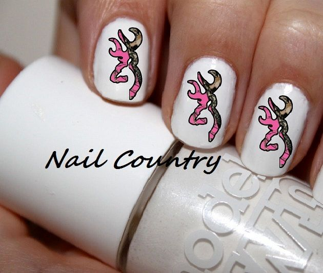 Country Girl Nail Art: 50pc+Country+Pink+Camo+Deer+Nail+Decals+Nail+Art+by