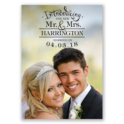 sweet and simple wedding announcement.  upload your photo and choose any color for the wording.