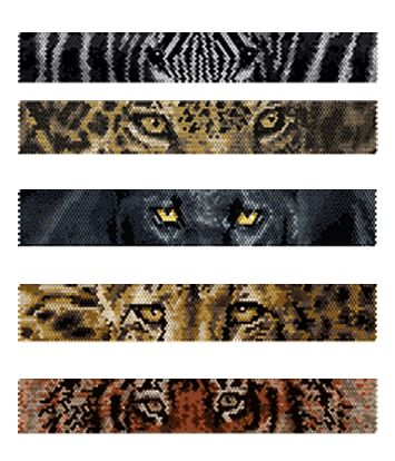 Beaded Zebra, Jaguar, Black Panther, Cheetah, Tiger Eyes Peyote Bracelets Pattern by Lynn Cassels-Caldwell at Bead-Patterns.com