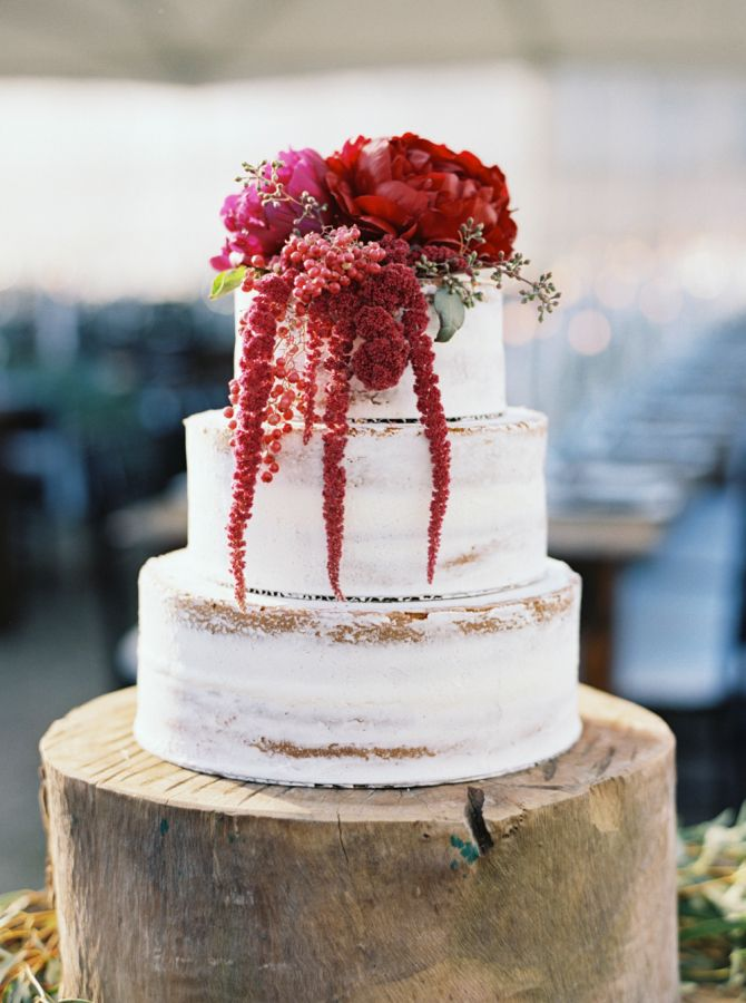 Rustic amaranth + peony-topped fall wedding cake: http://www.stylemepretty.com/2016/03/01/fall-rustic-chic-backyard-wedding/ | Photography: Mariel Hannah - http://www.marielhannahphoto.com/