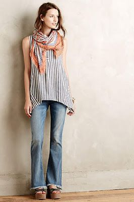 Striped tank, bootcut jeans and a printed scarf for an effortlessly chic outfit