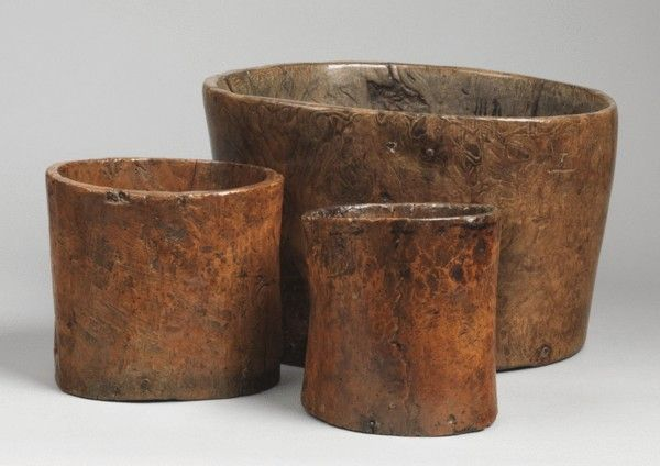 Three Dug Out Grain Measures (Sold by Robert Young Antiques) #FolkArt
