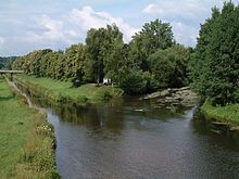 """The Donauzusammenfluss, or """"Danube confluence"""", where the Breg and Brigach unite to form the Danube in Donaueschingen, Germany."""