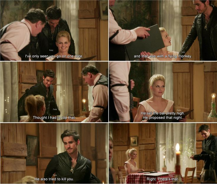 """I've seen you go on one date, and that was with a flying monkey. Thought I had to top that."" Hook and Emma - 4*4 ""The Apprentice."" #CaptainSwan"