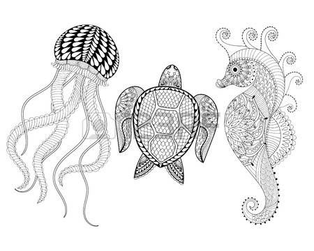 El doodle yetişkin boyama sayfaları, zentangle kabile tarzı, Mehndi etnik süs dövme, kına desenli baskılar için Sea Horse, Denizanası ve Turtle çizilmiş. boyama kitabı için set deniz hayvan vektör çizim Çizim