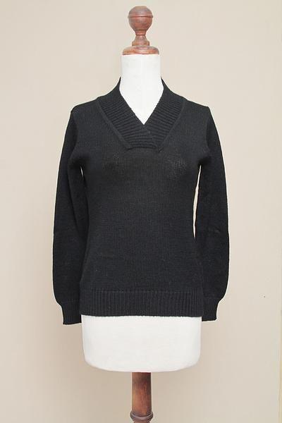 Knitted Black Alpaca Wool V-Neck Women's Pullover - Ebony Classic | NOVICA